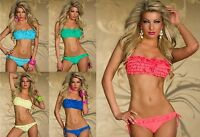 Ladies Fashion Ruffle Frill Padded Bandeau Bikini Swimsuit Swimwear 6 8 10 12 14