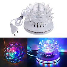 Rotating Stage Light RGB LED Colorful Lotus Crystal DJ KTV Disco Party Pub Lamp