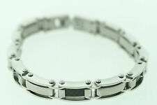 Stainless Steel & Black Carbon Fiber 10mm Bracelet