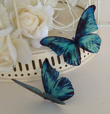 10 Sparkling 3D Vivid Teal Butterflies Wedding Cage Table Candle Accessories
