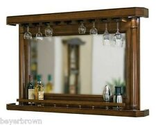 Back Bar Hanging Stemware Rack with Recessed Lighting & Mirror