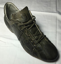 CESARE PACIOTTI US 10 LEATHER STUDDED MILITARY GREEN SPORT SHOES