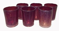 New! Set of 6 Stunning Mexican Hand Blown Tumbler- Burnt Orange Bubble Glasses