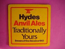 Beer Bar Coaster ~ HYDES Brewery Anvil Ales ~ Salfod, ENGLAND Brewers Since 1863