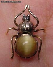 Antique Cat's Eye Gold And Silver Inset Lapel Pin