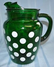Vtg Anchor Hocking Fire King Forest Green Glass Polka Dot Pitcher w/ Ice Lip