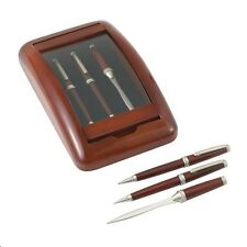 The Hanover Collection ~ 3pc Pen, Pencil & Letter Opener in a Wood Glass Case