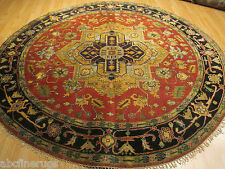 8' FEET Round 8x8 Persian Heriz  Vegetable Dye Hand-made-knotted Wool Rug 583091