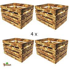 4 x NEUE GEFLAMMTE OBSTKISTE Apfelkiste Rustikale Holzkisten Weinkisten Landhaus