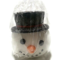 """Snowman Head Candle from Kohls Store Frosty Top Hat Carrot Nose Large 6.25"""" x 6"""""""