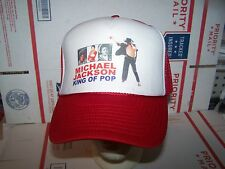 MICHAEL JACKSON KING OF POP HAT/CAP TRUCKERS STYLE MESH BACK-RED