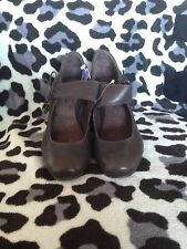 ANTIA SHOES BROWN MARY JANE STYLE / WEDGE - SIZE 9  NARROW- LEATHER