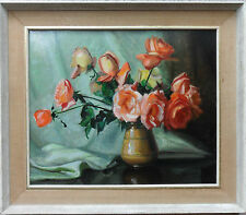 EDWARD WESSON 1910-1983 FINE ORIGINAL SIGNED OIL PAINTING 'STILL LIFE OF ROSES'