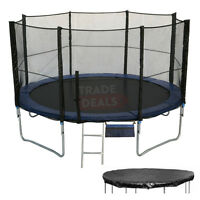 6 8 10 12 14 16 FT Foot Trampoline + Safety Net/Enclosure, Rain Cover + Ladder