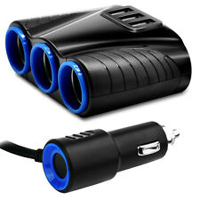 3 way Car Cigarette Lighter Socket Splitter 12V Dual USB Charger Power Adapter