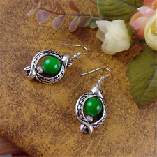 Vintage Tibetan Silver Cute Colorful Beads Hollow Dangle Ear Drop Earrings Gift