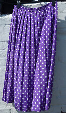 Sz 14 C&A Your Sixth Sense vtg midi skirt purple polka dots pleated rockabilly