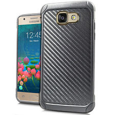 For Samsung Galaxy J7 PRIME Black Carbon Fiber Duo Shock Phone Cases