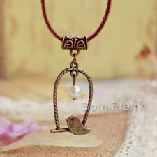 1Pc Bird Pearl Pendant Bronze Vintage Pendant Leather Necklace Jewelry Gift
