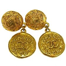 AUTH CHANEL VINTAGE CC LOGOS MEDALLION MOTIF EARRINGS GOLD CLIP-ON FRANCE E06691