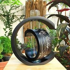 Handmade Blacks and null Modern Art Mango Wood Vase Decor~Bamboo Design