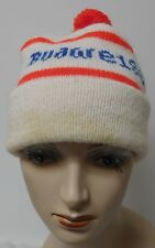 BUDWEISER VINTAGE WHITE RED AND BLUE WINTER HAT WITH POM POM EUVC