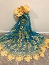 "TURQUOISE GOLD 3D EMBROIDERY RHINESTONE LACE FABRIC 52"" WIDE 1 YARD"