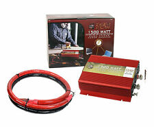 Tiger Claw 1500W Pure Sine Wave Power Inverter DC-AC 1500 Watt 3000 W Peak+Cable