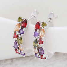 Fashion Women 925 Silver Multicolor Gemstone Ear Studs Hoop Dangle Drop Earring