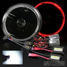 7 Inch Round PAR56 Black Housing Red LED Halo Projector Headlights/6000K HID