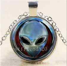 Metal Alien Head Cabochon Glass Tibet Silver Chain Pendant Necklace