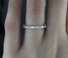 $2,000 14K White Gold Round Baguette Cut Diamond Wedding Band Anniversary Ring