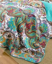 Nirvana Reversible King Quilt Colorful Paisley Moroccan Boho Bed Bedroom Decor