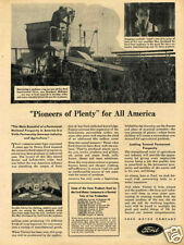 1943 Ford Experimental Soybean Harvester Farm Tractor Print Ad
