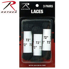 BLACK NYLON BOOT LACES 72 INCHES - 3 PACKS OF 3 LACES