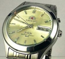 Orient Silver  Gold Dial Men's Automatic Watch 9 Faceted  Orient Box + Warranty
