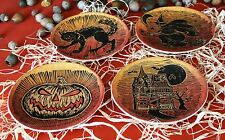 POTTERY BARN SPOOKY HALLOWEEN DESSERT PLATES SET -NIB- SERVE UP FRIGHTFUL FUN!