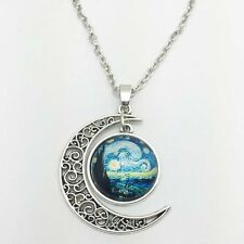 Vintage Galaxy Star Cabochon Silver plated chain necklace pendants Moon pendant