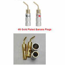 2pcs 24k Gold-plated Speaker Wire Nakamichi Pin Connectors Banana Plug Brass