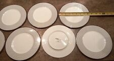 Mikasa China - Cheers - Black Rings Stripes - Luncheon Salad Plates - Set of 7
