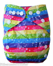 Brand New Reusable Modern Cloth Nappy (MCN) + microfibre insert – Rainbow Stars