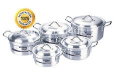 SAUCEPAN POT SET LID COOKWARE CASSEROLE STOCK ALUMINIUM 10PC KITCHEN COOKING PAN