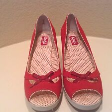 KEDS Wedge Women's Red Canvas Heel Shoe Size 9.5 M