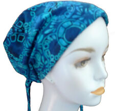 Blue Hand Dyed Batik Cancer Chemo Head Scarves Head Wrap Cover Hat Calypso 48