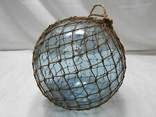 "Glass Fishing Float 9.5"" in FINE ROPE NET Vintage Japanese Nautical Maritime"