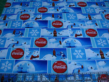 1 Yard Quilt Cotton Fabric- Sykel Coca Cola Coke Polar Bear Holiday Winter Patch