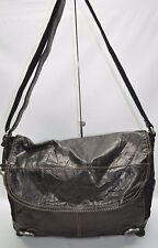 Fossil Black Genuine Leather Canvas Large Flap Messenger Bag Crossbody