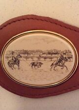 Barlow Designs  Leather Keychain   Engraved  Steer Roping  with box  $14.99