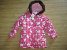 NEW* HELLO KITTY JACKET COAT TOP HOT PINK Toddler Girls 5 Brown Faux Fur Trim