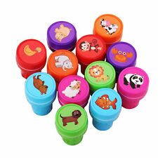 12pcs Cartoon Animal Stamps Seal Set Stationery Scrapbooking Diary Kids Gift